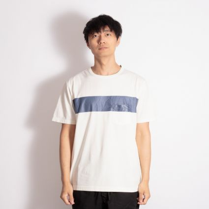 Albam Panel Print T-Shirt Ecru/Navy