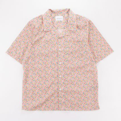 Albam Short Sleeve Revere Collar Shirt Pink Horseshoes1
