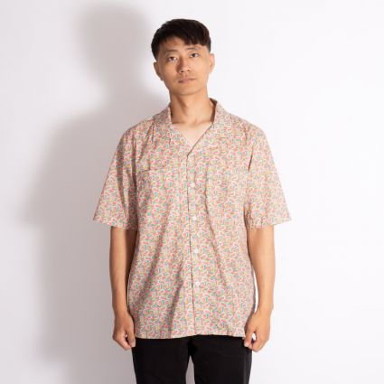 Albam Short Sleeve Revere Collar Shirt Pink Horseshoes