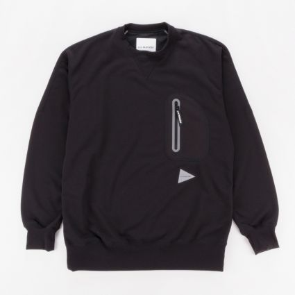 and wander Aeroknot Pile Crew Neck Sweatshirt Black1
