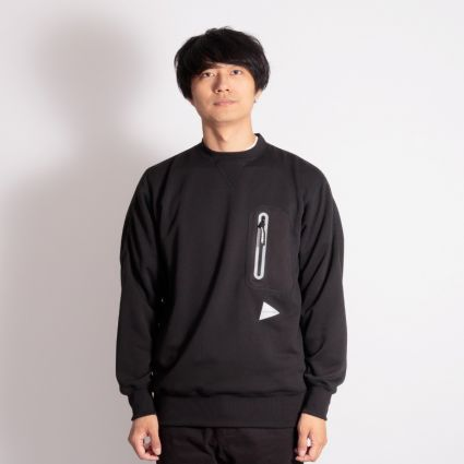 and wander Aeroknot Pile Crew Neck Sweatshirt Black