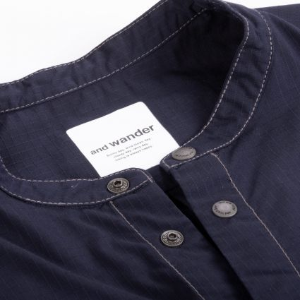 and wander Dry Rip Short Sleeve Shirt Navy