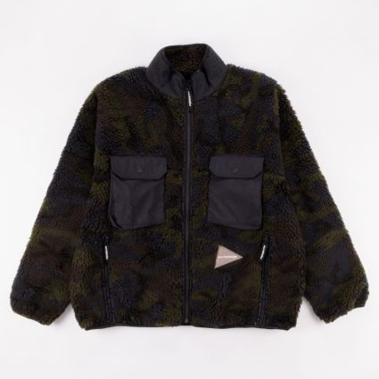 and wander Jacquard Boa Jacket Khaki
