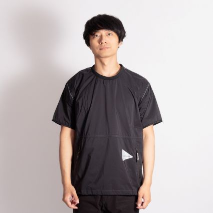 and wander Pertex Wind Short Sleeve T-Shirt Black