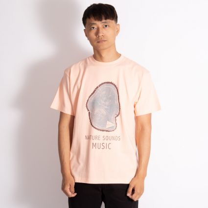 and wander Printed T-Shirt Woodprint Pink