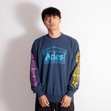 Aries Column Sweatshirt Blue