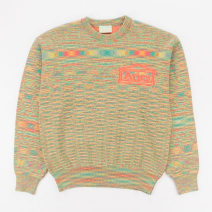 Aries Magic Eye Temple Knit Sweatshirt Orange1
