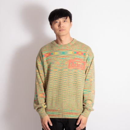 Aries Magic Eye Temple Knit Sweatshirt Orange