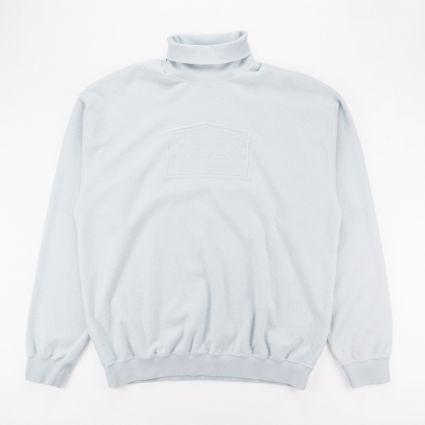 Aries Reverse Fleece Turtleneck Sweatshirt Pale Blue1