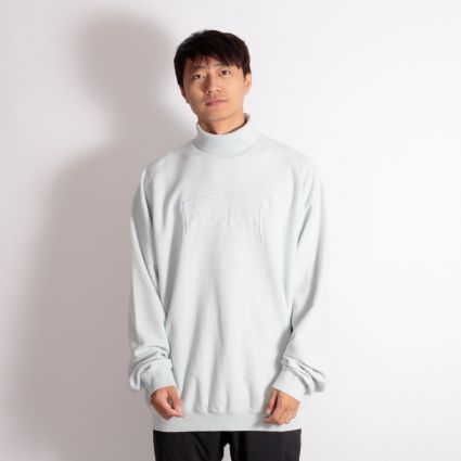 Aries Reverse Fleece Turtleneck Sweatshirt Pale Blue