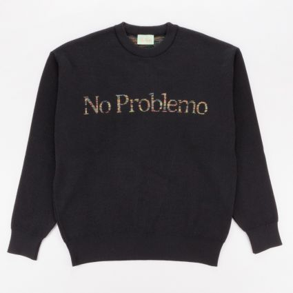 Aries Space Dye No Problemo Knit Sweatshirt Black1