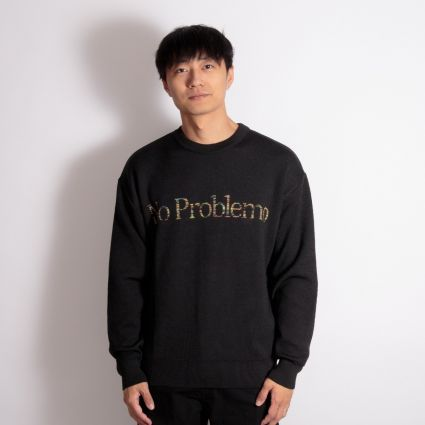 Aries Space Dye No Problemo Knit Sweatshirt Black