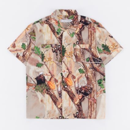 Billionaire Boys Club Tree Camo Bowling Shirt Sand