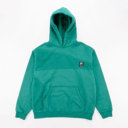 Brain Dead Logo Head Asymmetrical Paneled Hoodie Teal1