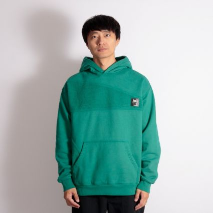 Brain Dead Logo Head Asymmetrical Paneled Hoodie Teal