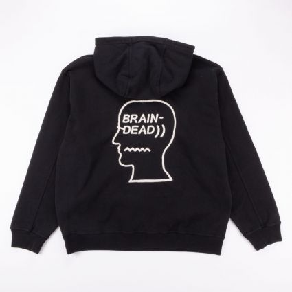 Brain Dead Speed Text Embroidered Logo Head Hoodie Washed Black