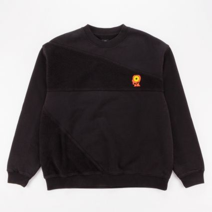 Brain Dead Sunflower Asymmetrical Paneled Crewneck Sweatshirt Black1