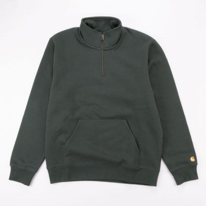 Carhartt WIP Chase Neck Zip Sweatshirt Dark Teal/Gold1