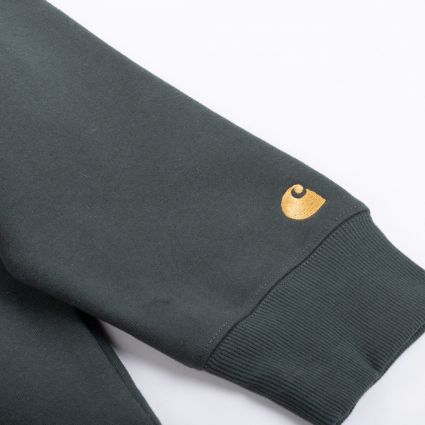 Carhartt WIP Chase Neck Zip Sweatshirt Dark Teal/Gold