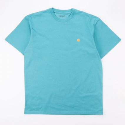 Carhartt WIP S/S Chase T-Shirt Frosted Turquoise/Gold1