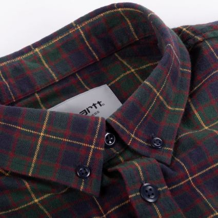 Carhartt WIP L/S Huffman Check Shirt Bottle Green