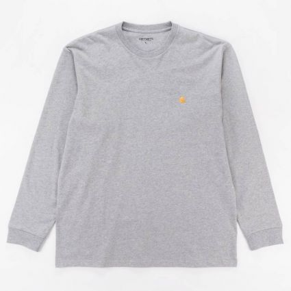 Carhartt WIP Chase Long Sleeve T-Shirt Grey Heather/Gold1