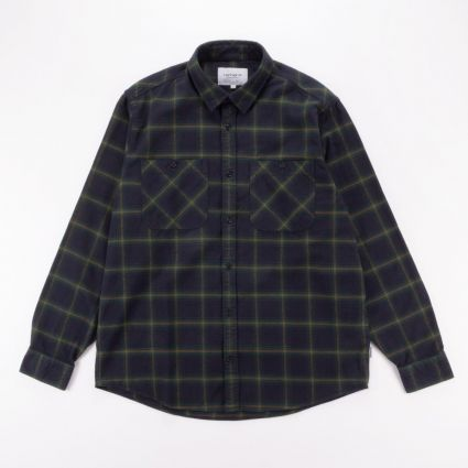 Carhartt WIP L/S Darren Check Shirt Bottle Green1