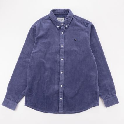 Carhartt WIP Madison Cord Shirt Cold Viola/Black1