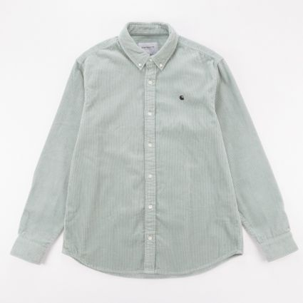 Carhartt WIP Madison Cord Shirt Frosted Green/Black1