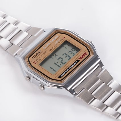 Casio A158WEA-9EF Retro Alarm Chrono Watch Silver/Gold