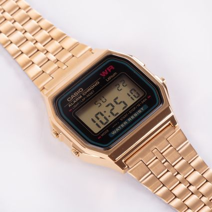 Casio A159WGEA-1EF Retro Alarm Chrono Watch Bronze