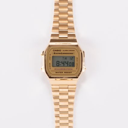 Casio A168WG-9EF Retro Alarm Chrono Watch Gold