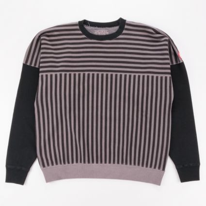 Cav Empt Overdye Stripe Crew Neck Sweatshirt Brown1