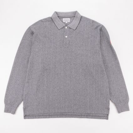 Cav Empt Stripe Rib Long Sleeve Polo Grey1