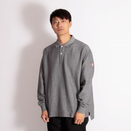 Cav Empt Stripe Rib Long Sleeve Polo Grey