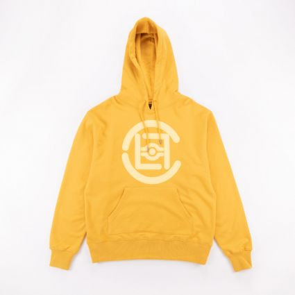 CLOT Fifth Elemental CLOT Logo Applique Pullover Hoodie Yellow1