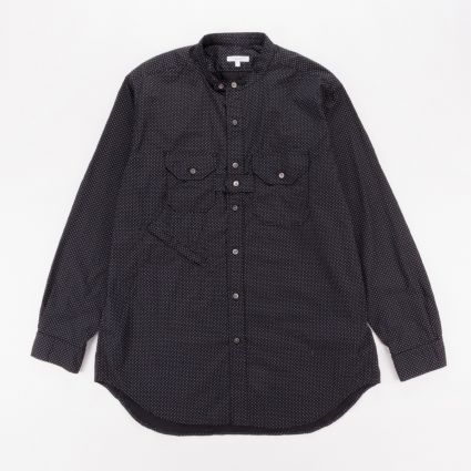 Engineered Garments Banded Collar Shirt Black/White Micro Polka Dot1