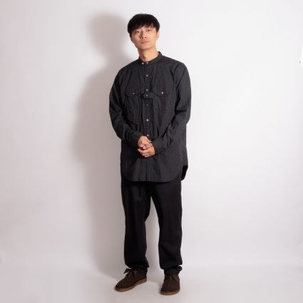 Engineered Garments Banded Collar Shirt Black/White Micro Polka Dot