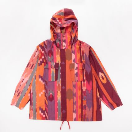 Engineered Garments Cagoule Shirt Red/Orange Cotton Ikat1
