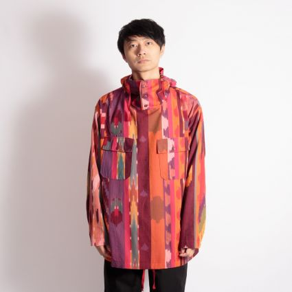Engineered Garments Cagoule Shirt Red/Orange Cotton Ikat