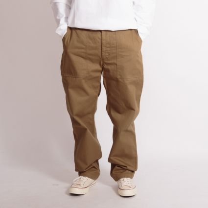 Engineered Garments Fatigue Pant Brown Cotton Herringbone Twill
