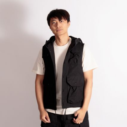 Engineered Garments Field Vest Black Cotton Double Cloth