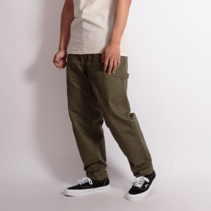 Engineered Garments Painter Pant Olive Cotton Herringbone Twill