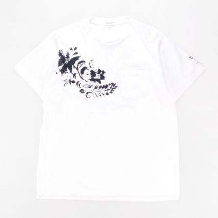 Engineered Garments Printed Cross Crewneck T-Shirt White Floral1