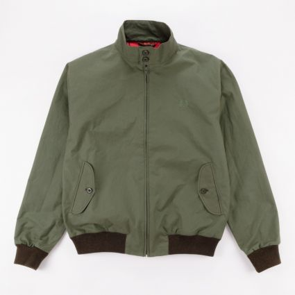 Fred Perry Made In England Wax Harrington Jacket Dark Fern1
