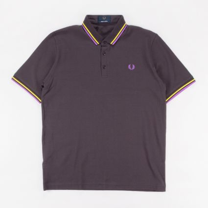 Fred Perry Made In Japan Piqué Shirt Anchor Grey/Bright Yellow/Bright Purple1