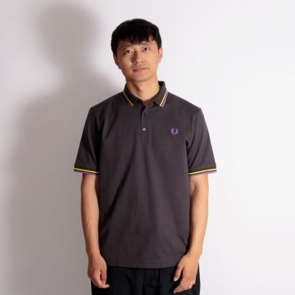 Fred Perry Made In Japan Piqué Shirt Anchor Grey/Bright Yellow/Bright Purple
