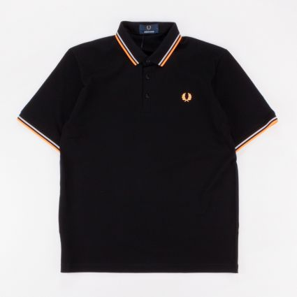 Fred Perry Made In Japan Piqué Shirt Black/Grey/Bright Orange1