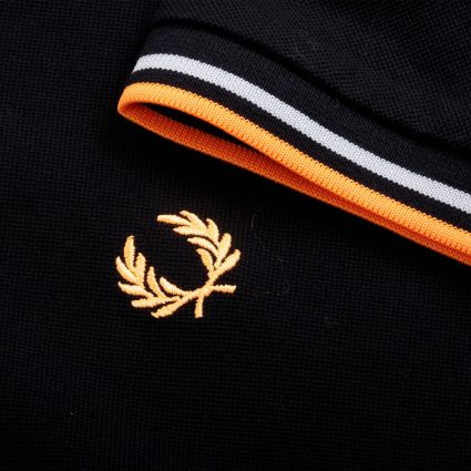 Fred Perry Made In Japan Piqué Shirt Black/Grey/Bright Orange