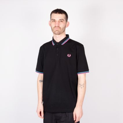 Fred Perry Made In Japan Piqué Shirt Black/Neon Blue/Neon Pink